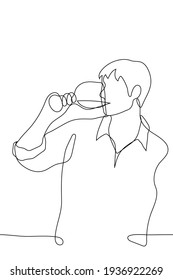 man in a shirt drinks a wine drink from a glass - one line drawing. a taster or wine lover sips wine from a glass in an informal setting