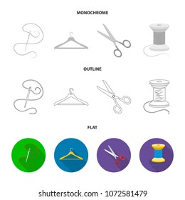 A man shirt, a mannequin, a roll of fabric, a ball of threads and knitting needles.Atelier set collection icons in flat,outline,monochrome style vector symbol stock illustration web.