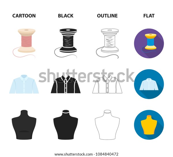 A man shirt, a mannequin, a roll of fabric, a ball of threads and knitting needles.Atelier set collection icons in cartoon,black,outline,flat style vector symbol stock illustration web.