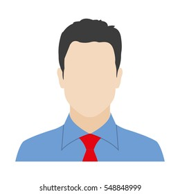 Man in the shirt and tie. Businessman avatar or male face icon. Vector illustration.