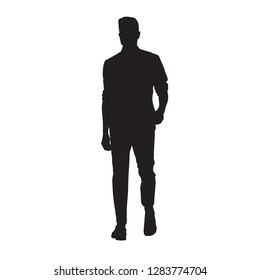 Man in shirt walking forward, isolated vector silhouette, young people