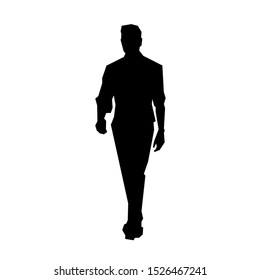 Man in shirt walking forward, isolated geometric vector silhouette, young people