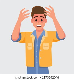 Man with shocked, amazed expression.Vector illustration cartoon character.