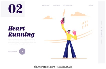 Man Shooting with Blank Gun and Push Button on Stopwatch to Start Running Competition on Stadium, Sport Sprint Race, Marathon. Website Landing Page, Web Page. Cartoon Flat Vector Illustration, Banner