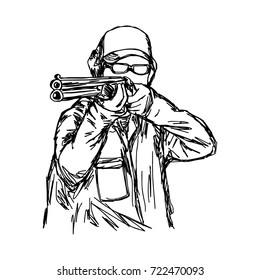 man shooting double barrel shotgun vector illustration sketch hand drawn with black lines, isolated on white background