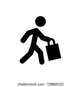 man with shopping bag icon vector isolated on white background