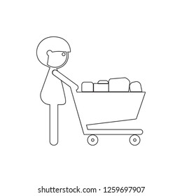 man with a shopping cart icon. Element of cyber security for mobile concept and web apps icon. Thin line icon for website design and development, app development