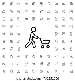 Man with shopping cart icon. set of outline shopping icons.