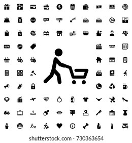 Man with shopping cart icon vector isolated on white background. set of filled shopping icons.