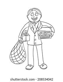 man with shopping gifts, contour vector illustration