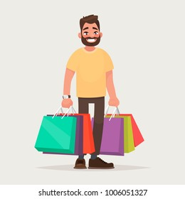 The man is shopping. The guy with the packages. Vector illustration in cartoon style