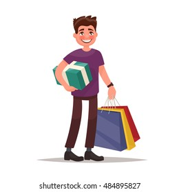 Man is shopping. Man holding bags and gift box. Vector illustration of a flat design