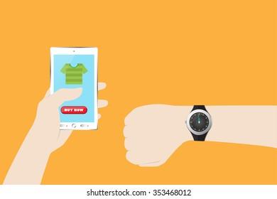 Man Shopping in Last Minute Deal with Mobile E-Commerce. Vector illustration for Retail Business