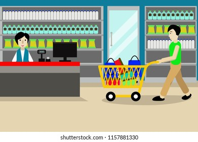 Man shopping in minimarket pushing trolley full of bag shop and cashier woman waiting for costumer vector illustration