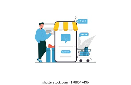Man shopping next to phone. Online shopping, e-commerce concept illustration