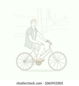 The man in a short-sleeved shirt and shorts is riding a bike. hand drawn style vector doodle design illustrations.