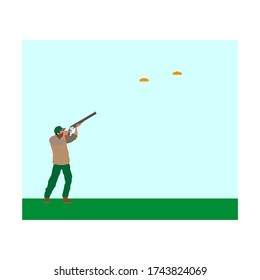man with shotgun practicing clay pigeon shooting. Vector illustration for web and mobile design.