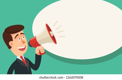 Man shouting into megaphone with bubble speech. Attract attention. Business vector illustration.
