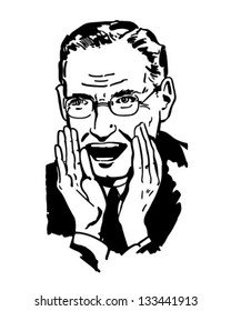 Man Shouting - Retro Clipart Illustration