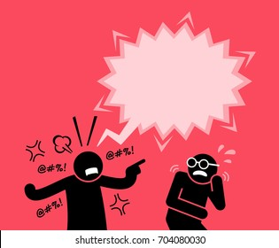 A man shouting and screaming at his friend. He is blaming and accusing him for wrongdoing. His friend is scared by his reaction.