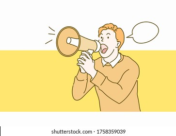 A man shouting through a megaphone. Hand drawn in thin line style, vector illustrations.