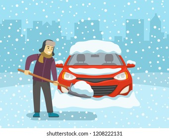 Man with shovel cleaning snow. Front view of car covered with snow. Flat vector illustration.