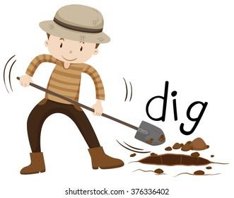 Man with shovel digging a hole illustration