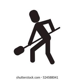 man shovel digging work construction
