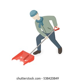 Man shoveling and removing snow. Isometric view. Vector Illustration on white background.