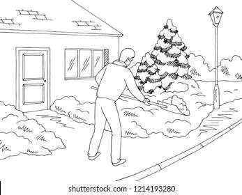 Man shoveling snow winter street graphic black white landscape sketch illustration vector