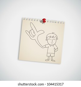 Man show love hand sign on note paper vector