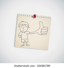Man show  thumb up on note paper vector