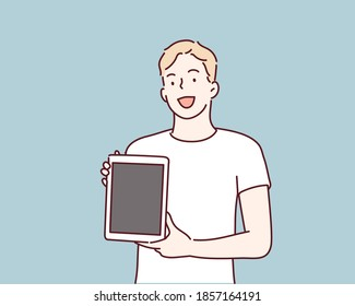 Man showing blank no-name tablet pc monitor. Hand drawn style vector design illustrations.