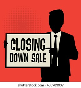 Man showing board, business concept with text Closing Down Sale, vector illustration