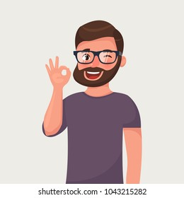Man is showing a gesture ok. Vector illustration in cartoon style