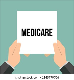 Man showing paper MEDICARE text. Medicaid Vector illustration