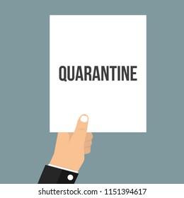 Man showing paper QUARANTINE text. Vector Flat Illustration