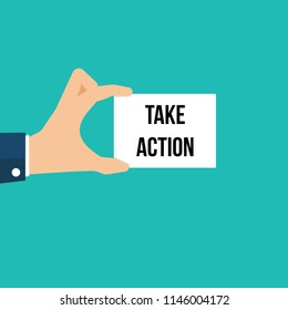 Man showing paper TAKE ACTION text. Vector Illustration