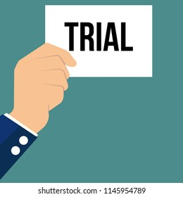 Man showing paper TRIAL text. Vector Illustration