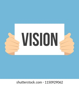 Man showing paper VISION text. Vector Flat Illustration
