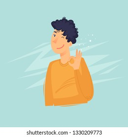 Man shows everything is fine. Flat design vector illustration.