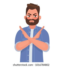 Man shows a gesture no or stop. Vector illustration in cartoon style