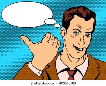 Man shows good hand gesture pop art retro style vector illustration.