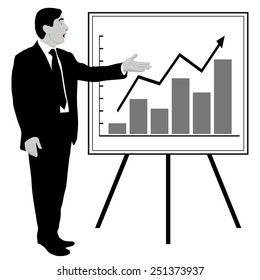 Man shows graphics on the flip chart. Suitable for infographics. Manager, Director, Speaker, boss, dealer, charts, top drawing, annual report. Black and white, gray. Image. Vector. Icon.
