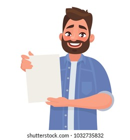 Man shows a sheet with the contract. Vector illustration in cartoon style