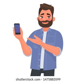 Man shows the smartphone the screen forward. Advertising or presentation of a mobile application. Vector illustration in cartoon style