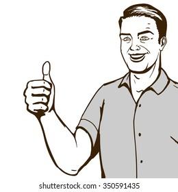 Man shows thumb gesture pop art style vector illustration. Comic book imitation