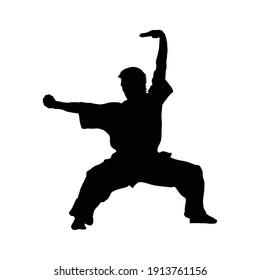 Man shows wushu while standing. Wushu art. Kung Fu karate. Silhouette. Vector illustration