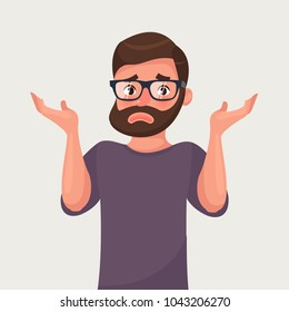 The man shrugs and spreads his hands. Vector illustration in cartoon style. Sorry or I do not know concept