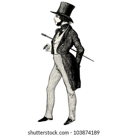 "Man with sideburns  - engraved illustration - ""Les Francais"" by L.Curmer in 1842 France"